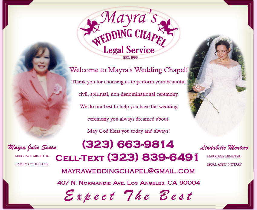 Marry Anywhere In Los Angeles Wedding Ceremony Packages To Go Are Available Including The Officiant Marriage License Photographers